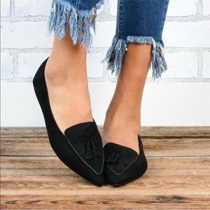 Tassel Loafers Black Women's 10